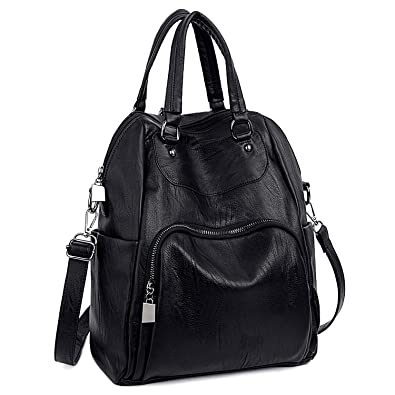 602bb25044e0 Amazon.com  UTO Women Backpack Purse PU Washed Leather Convertible Ladies  Rucksack Crossbody Shoulder Bag B Black  Shoes