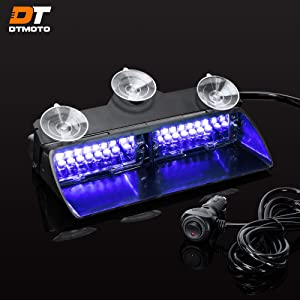 """9"""" 16W Blue LED Flashing Warning Strobe Dash Light for Volunteer Firefighter Vehicles - Interior Emergency Lights For Windshield w/Suction Cup"""