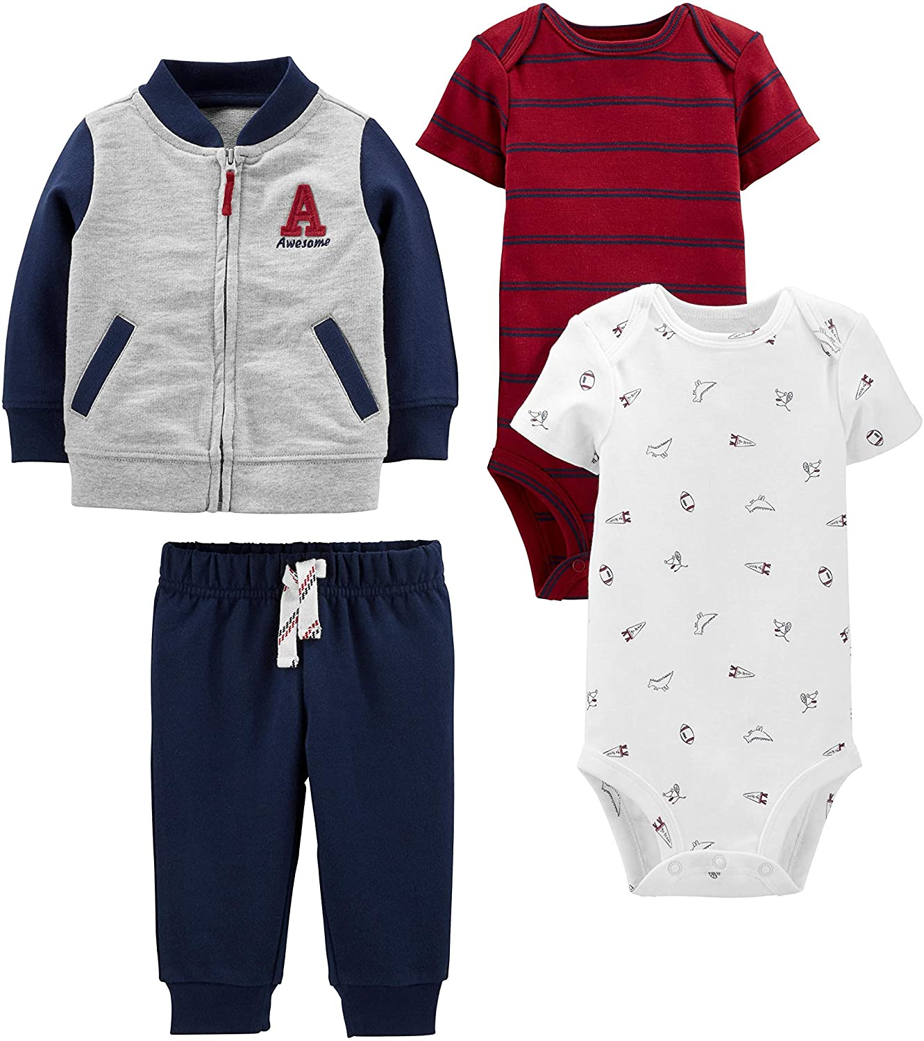 Simple Joys by Carter's Boys' 4-Piece Fleece Jacket, Pant, and Bodysuit Set