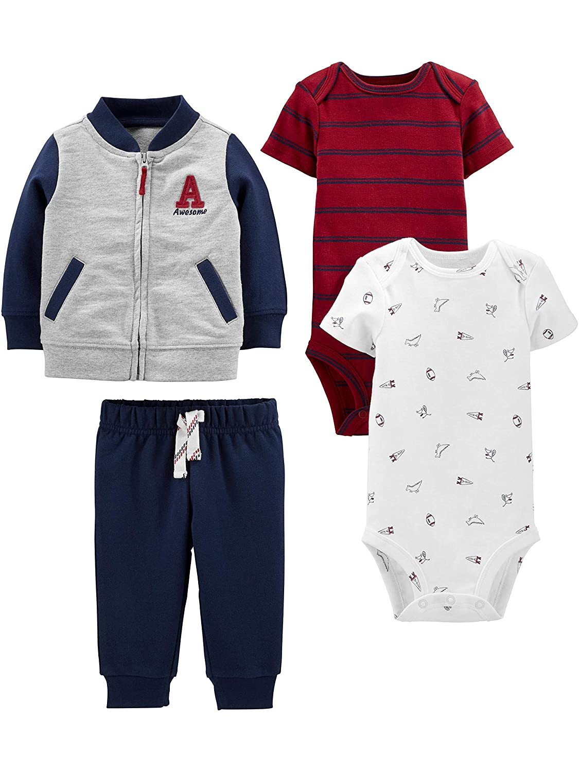 Simple Joys by Carters Baby Boys 4-Piece Fleece Jacket, Pant, and Bodysuit Set