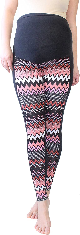Chevron Print No See Through Maternity Leggings Maternity Zigzag Leggings Over Bump Multicoloured Print Leggings M, Geometry Pregnancy Yoga Wear