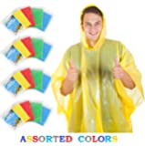 Wealers Rain Ponchos for Adults Disposable Rain Poncho for Women & Men, One Size Fits All – Emergency Raincoat for Theme Parks, Camping, Outdoors, Multi Colors Bulk Pack Waterproof Rain Ponchos