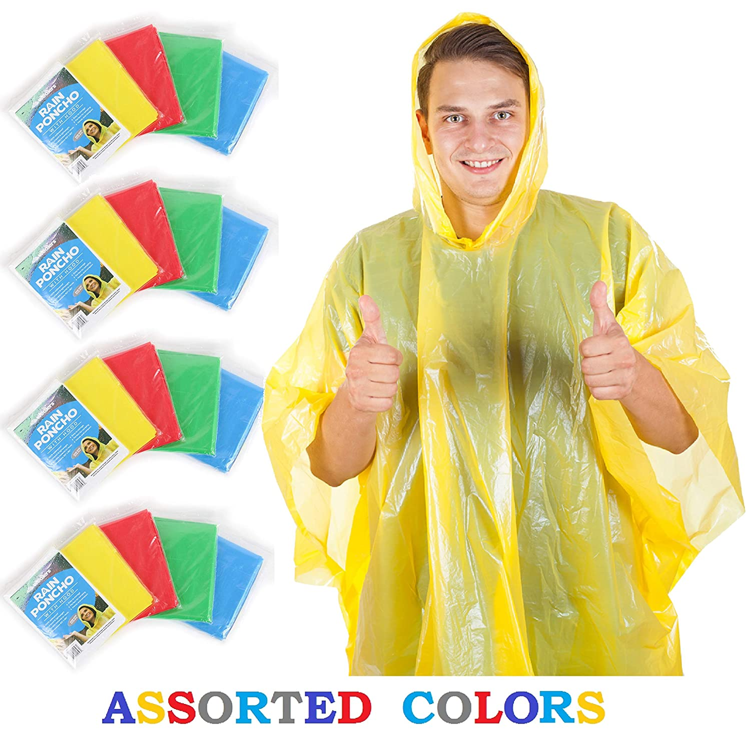 Wealers Rain Poncho Emergency Disposable 20 Ponchos Per Pack 5 Adult Size h0001-20