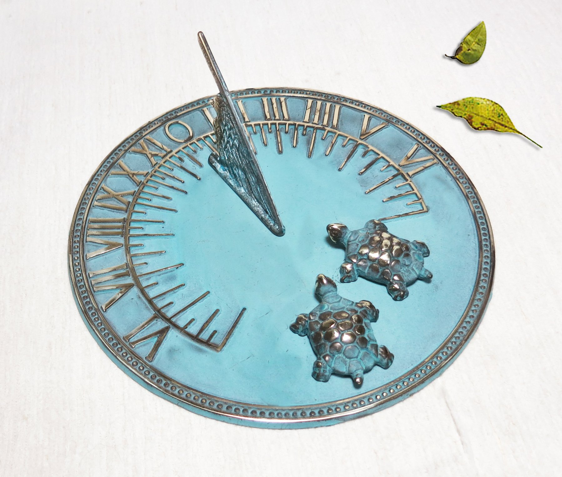 Brass Decorative Sundial 8'' Inches Wide - With 2 Little Turtles