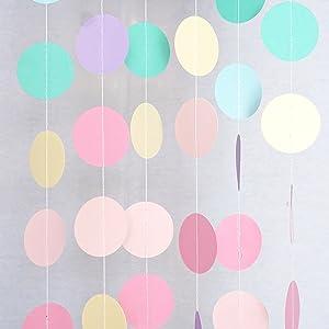 Chloe Elizabeth Circle Dots Paper Party Garland Streamer Backdrop (10 Feet Long) - Unicorn Pastel