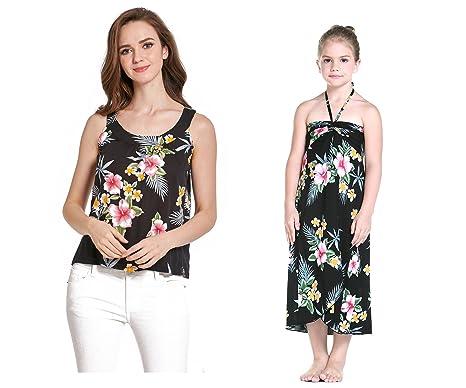 6a8d03c1ef456 Mère et Fille Assortis Hawaii Luau Femmes Robe débardeur Fille en Rouge  Hibiscus  Amazon.fr  Vêtements et accessoires