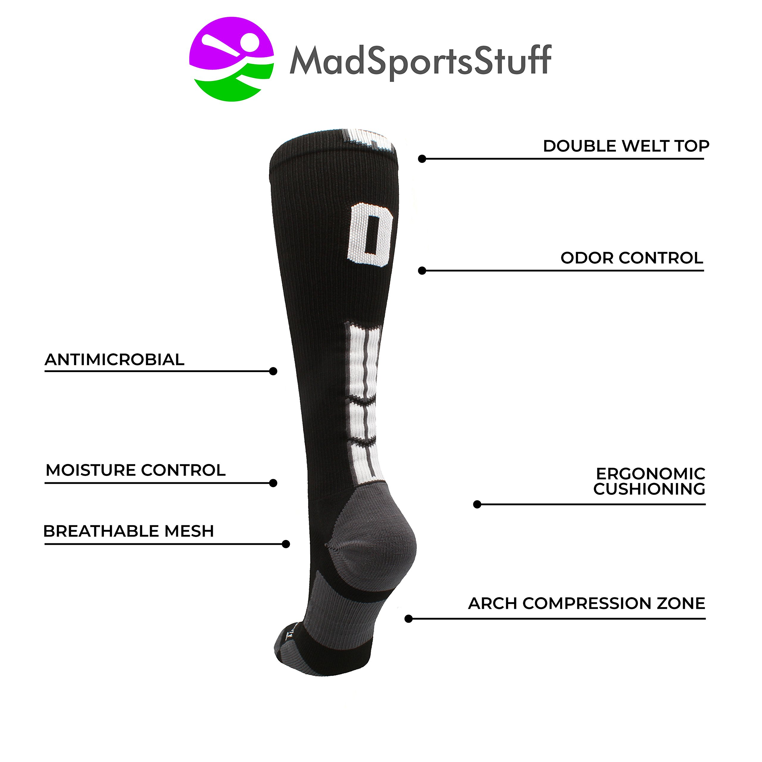 MadSportsStuff Player Id Black/White Over The Calf Number Socks (#07, Small) by MadSportsStuff (Image #4)