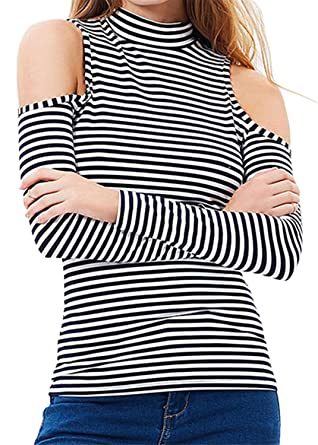f2e1f2a9997d7d Arctic Cubic Sexy High Mock Neck Cold Open Shoulder Striped T-Shirt Tee Top  Black and White at Amazon Women s Clothing store