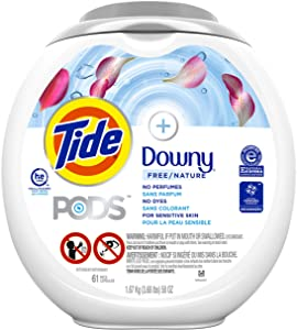 Tide Pods +Downy Free, Liquid Laundry Detergent Pacs, 61 Count