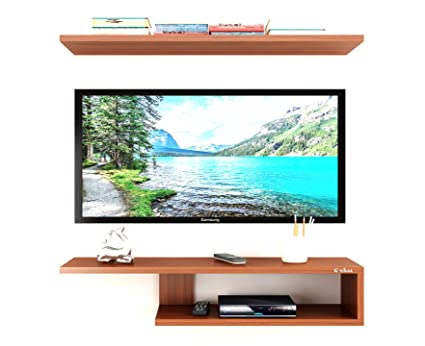 Anikaa Recon Wooden Tv Entertainment Unit Wall Set Top Box Shelf Stand Tv Cabinet For Wall Set Top Box Holder For Home Tv Stand Unit For Wall For Living Room Walnut Big Amazon In Home Kitchen