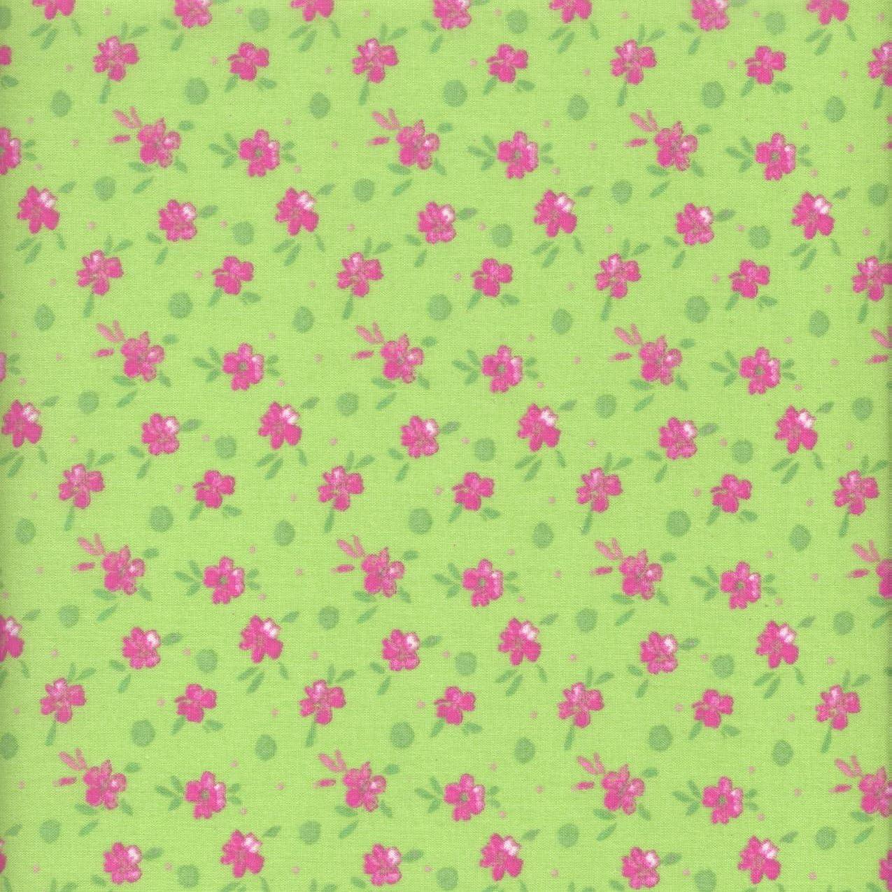 Tela verde y rosa jardín de flores (Colección un jardín rústico - rosa y menta) - 100% algodón suave | ancho: 140cm (1 metro): Amazon.es: Hogar