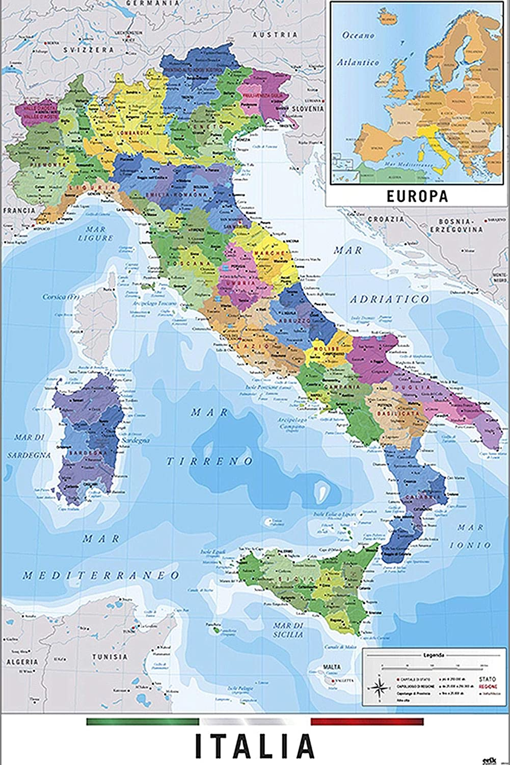 Cartina Politica Italia Foto.Close Up Mappa Fisico Politica Dell Italia 61cm X 91 5cm Amazon It Casa E Cucina