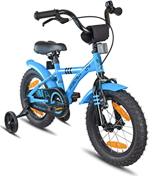 b82ca366f43 PROMETHEUS Kids bike 14 inch Boys and Girls in Blue & Black with stabilisers  | Aluminum ...