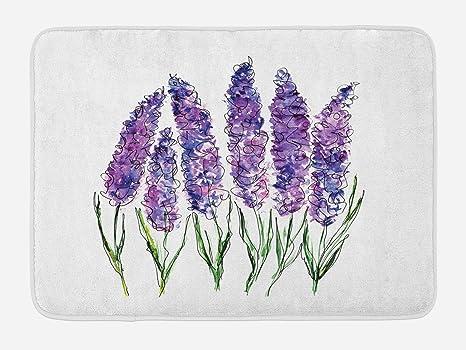 Amazon.com: lunarable acuarela flor alfombrilla de baño por ...