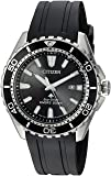 Citizen Men's Eco-Drive Stainless Steel Japanese-Quartz Diving Watch with Polyurethane Strap, Black, 22 (Model: BN0190-07E)