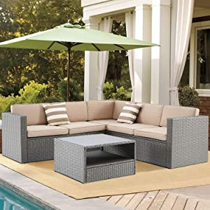 SUNCROWN 4-Piece Patio Outdoor Furniture Sets, All Weather Rattan Wicker Sectional Sofa Set, Outside Conversation Set with Washable Seat Cushions and Modern Glass Coffee Table, Brown