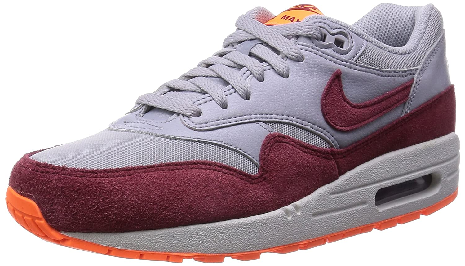 Nike Wmns Air MAX 1 Essential - para Hombre 38 EU|Wlf Gry/Tm Rd-ttl Orng-smmt Wh