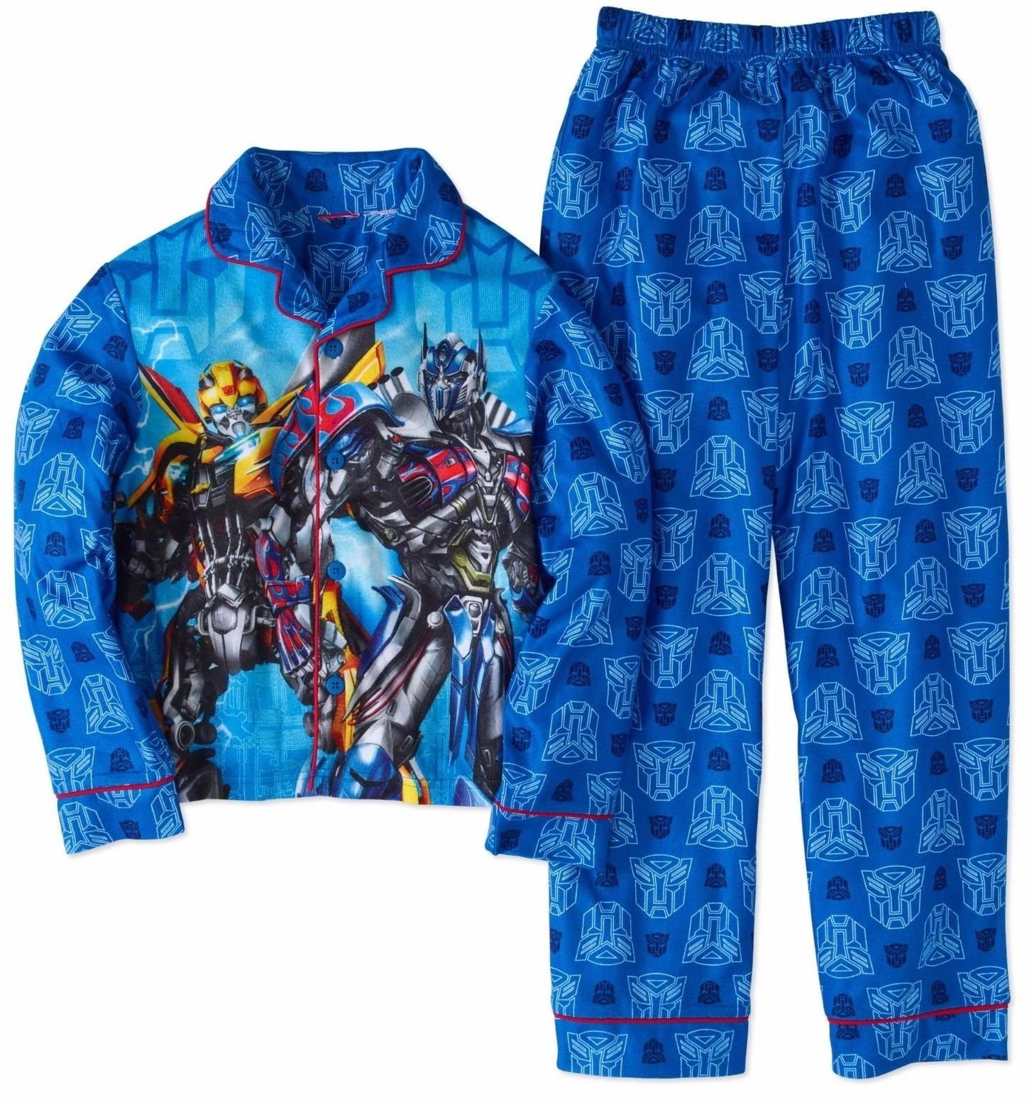 Transformers 2 Piece Button Front Pajama Set (Small 6/7)