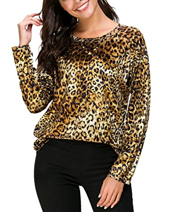 b50751e150d26 Women s Vintage Velvet T-Shirt Casual Long Sleeve Top at Amazon ...