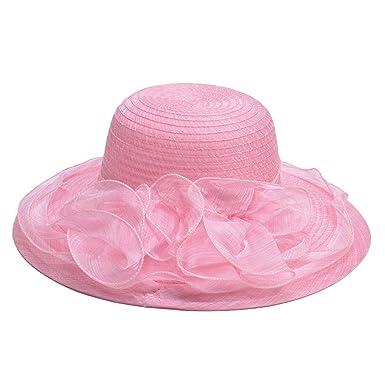Lawliet Women Organza Summer Hat for Wedding Wide Brim Sun Hat Ascot Race  Derby Hat ( 08505cecf77c