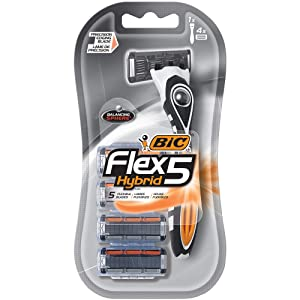 BIC Flex 5 Hybrid Men's 5-Blade Disposable Razor, 1 Handle and 4 Cartridges