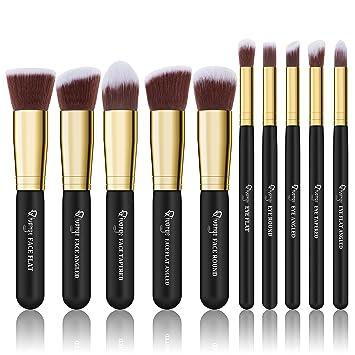 4099ddd26464 Qivange Makeup Brush Set, Premium Kabuki Brush Set Cosmetic Brushes(10pcs,  Black with Gold)