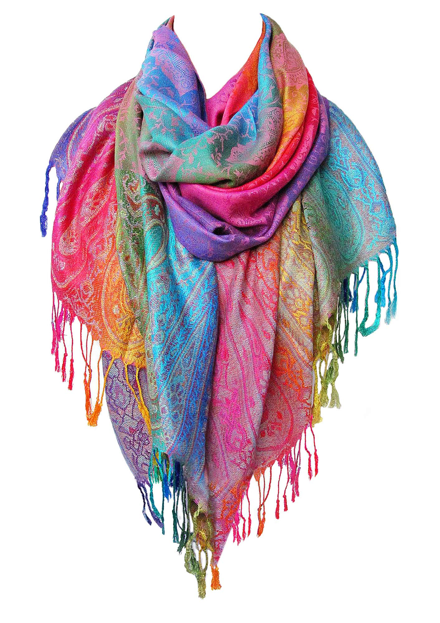 Rainbow Scarf for Women | Pashmina Scarfs for Women | Pashmina Rave Scarf | Colorful Scarfs For Women | Real Pashmina Shawls Wraps | Womens Scarfs and Wraps Lightweight - By Aasma's Dream