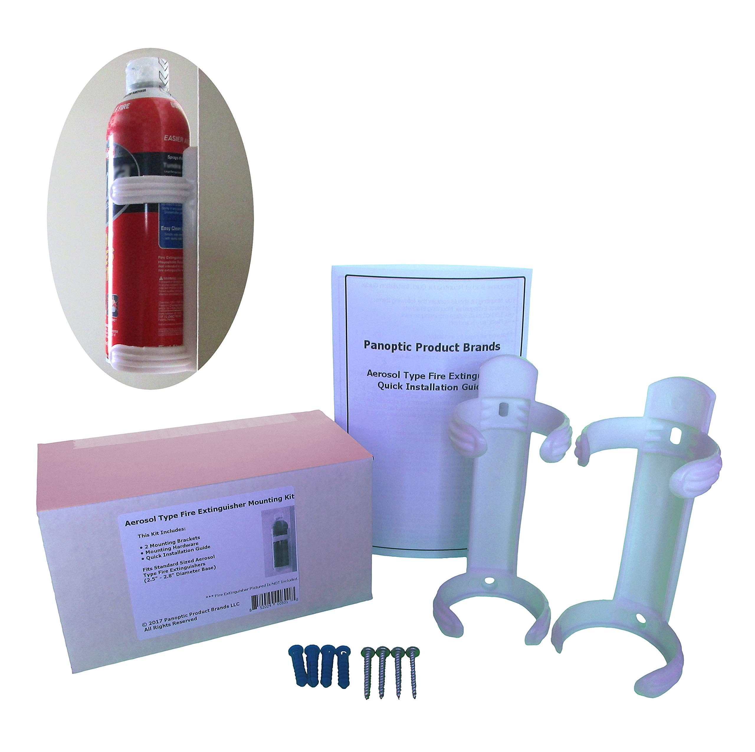 Aerosol Type fire Extinguisher mounting kit. Fits aerosol Type fire extinguishers with a 2.5'' - 2.7'' Diameter Base (AF400-2 Tundra). Package Includes 2 Brackets, Hardware, and Instructions.