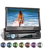 "XOMAX XM-D750 Autoradio mit 18 cm / 7"" Touchscreen I DVD, CD, USB, AUX I RDS I Bluetooth I Anschlüsse für Rückfahrkamera, Lenkradfernbedienung und Subwoofer I 1 DIN"