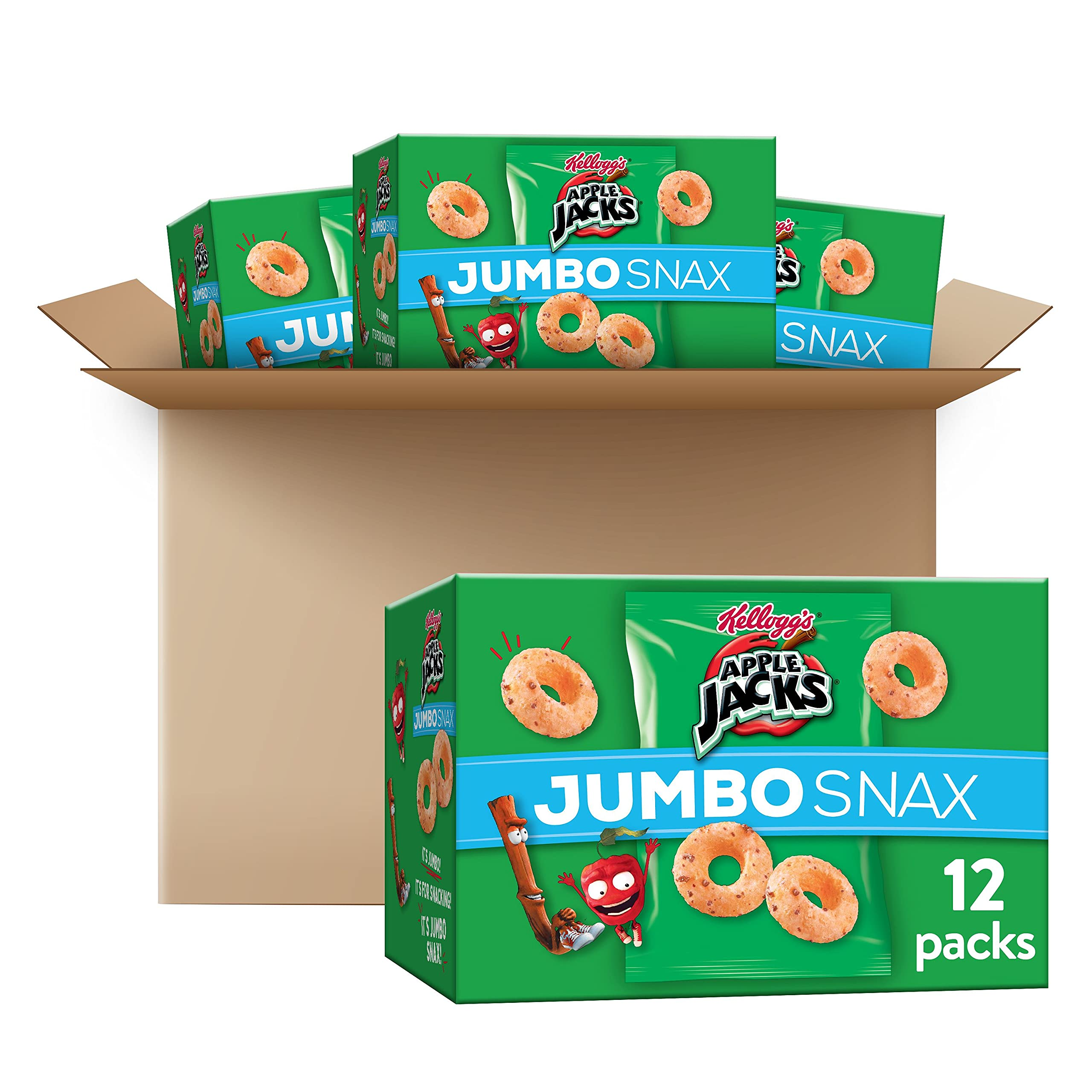 Kellogg's Apple Jacks Jumbo Snax, Cereal Snacks, On the Go, 12 - .45 oz bags (Pack of 4, 48 count total)