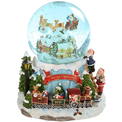 beautiful elf train musical animated snow globe christmas decoration revolving santa 20cm - Musical Animated Christmas Decorations