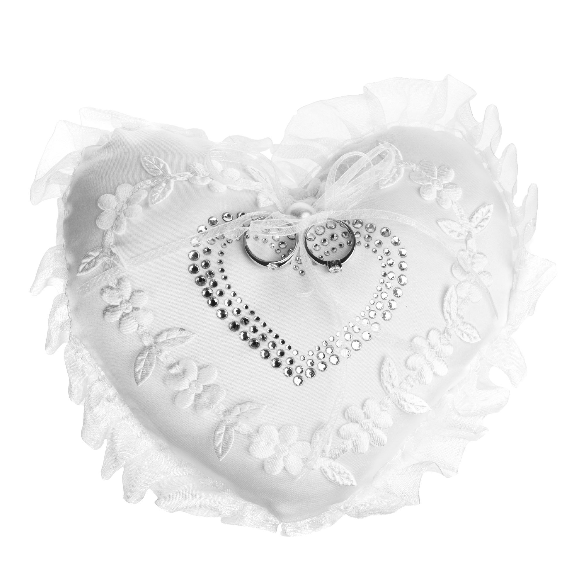 """Beautyflier Kloud City 7"""" Wedding Ring Cushion Heart Embroidery Flower Lace Trim Ribbon Bridal Ring Bearer Pillow Party Favor"""