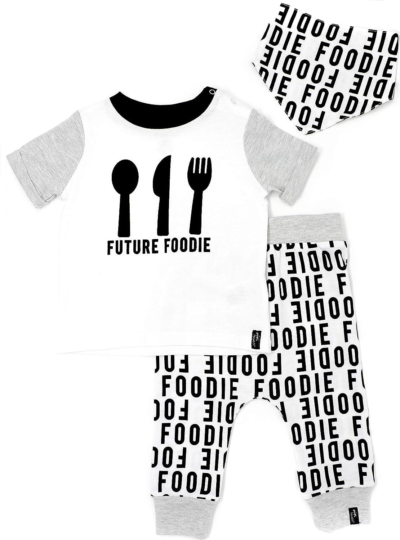 Mini Heroes - Baby Boys' Future Foodie T-Shirt, Pant and Bandana Set NTD Apparel