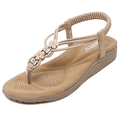 TT Global Été Femmes Bohémien Sandales, Femmes Mode Sandales Bohémien Style  Chaussures Talon Compensé Tongs 8c9e02a93536