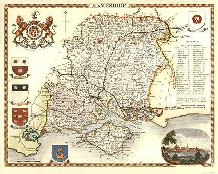Map Of Uk Hampshire.Hampshire Reproduction Antique Map Retro Reproduction Hampshire Map Thomas Moule Maps
