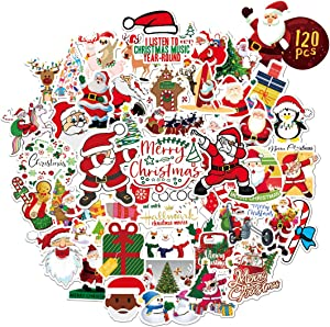 Chtistmas Stickers, Bibonse 120PCS Waterproof Vinyl Stickers for Kids Teens Home School Decor Water Bottle Computer Skateboard Walls Window and More