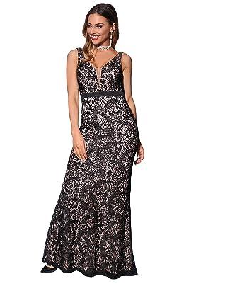 42019c20ecce1e KRISP Damen Figurbetontes Meerjungfrau Abendkleid mit Spitze, Schwarz/Beige  (3069), 34