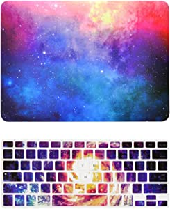 """TOP CASE - 2 in 1 Signature Bundle Galaxy Graphic Matte Hard Case + Keyboard Cover Compatible Old Generation MacBook Pro 13"""" with DVD Drive/CD-ROM A1278 (Release 2008 - Mid 2012) - Pink"""