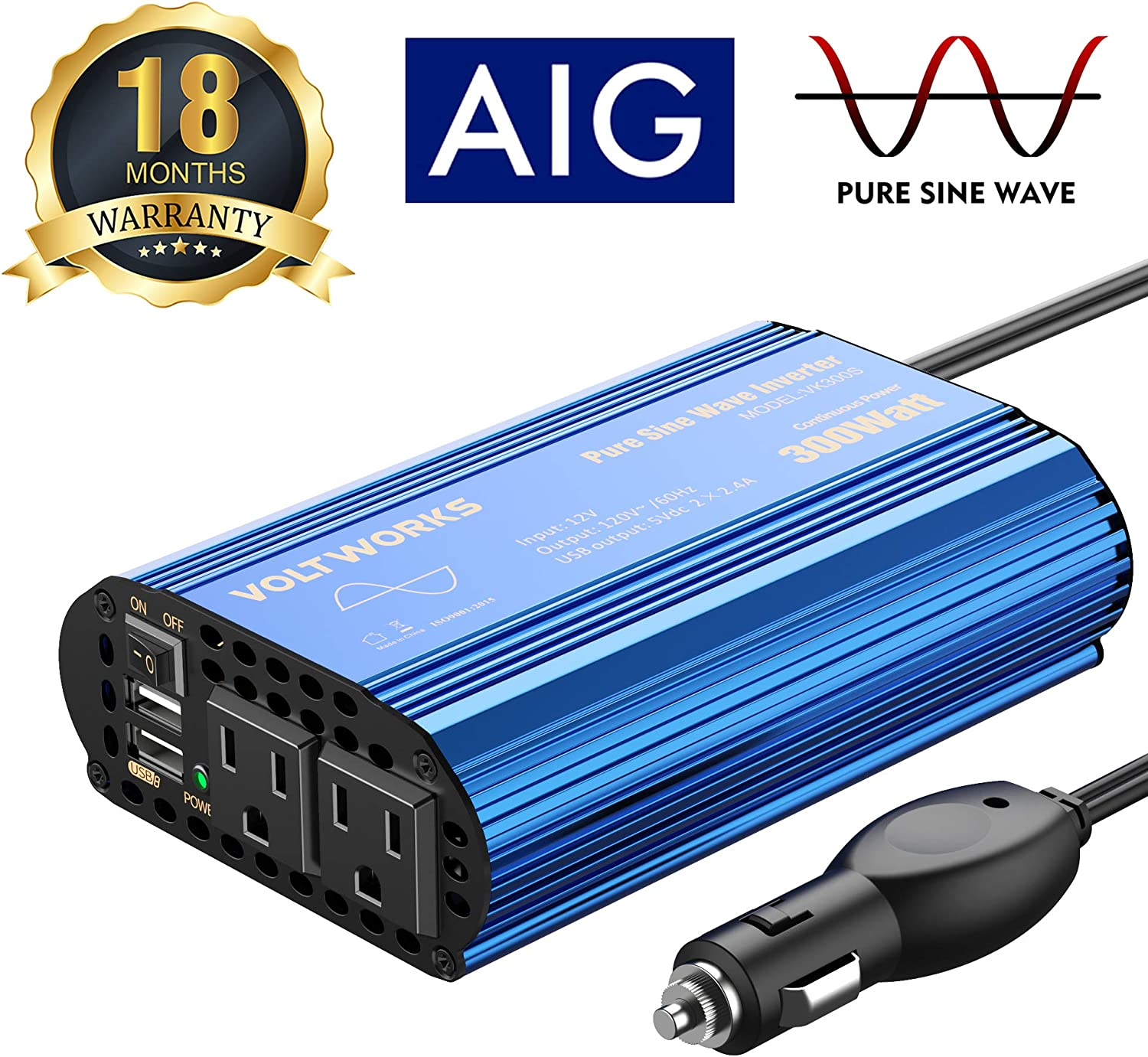 300W Pure Sine Wave Power Inverter for Car Truck RV Adapter DC 12V to AC 110V 120V with Dual 4.8A USB Port & AC Outlets by VOLTWORKS