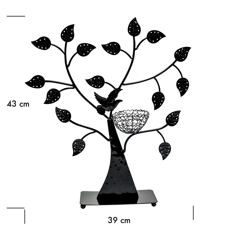 Porte bijoux en forme darbre Porte bijoux rangement et pr/ésentationn joyaux Noir environ 43 x 39 x 8 cm Grinscard