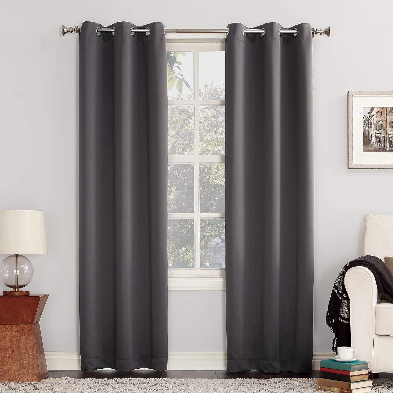 """Sun Zero Easton Blackout Energy Efficient Grommet Curtain Panel, 40"""" x 84"""", Charcoal Gray"""