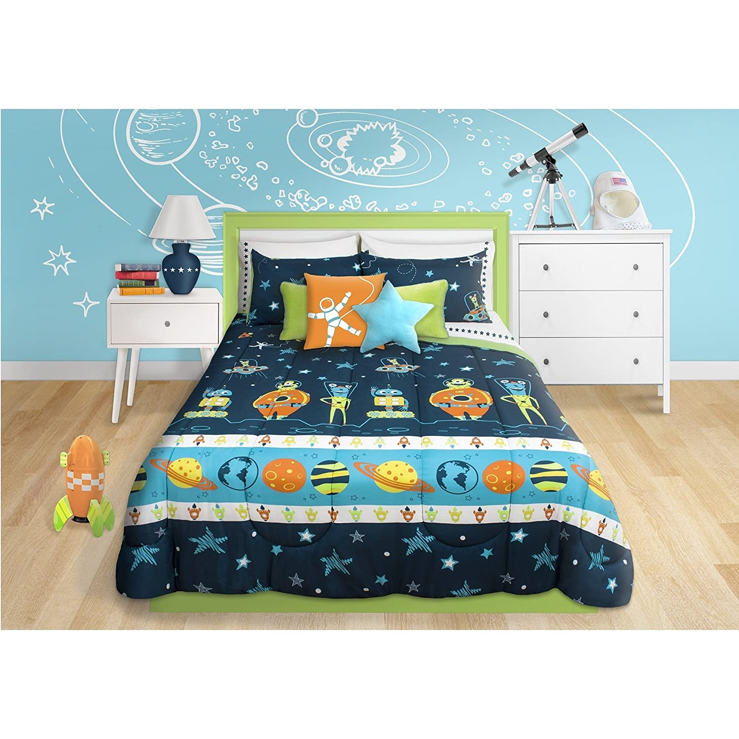 2 Piece Boys Blue Multi Outer Space Themed Comforter Twin Set, Beautiful Planets Stripe, Rocket Ships, Spacesuits, Robots, Stars, Polka Dots Print, Fun Imaginative Space Adventure Bedding, Polyester