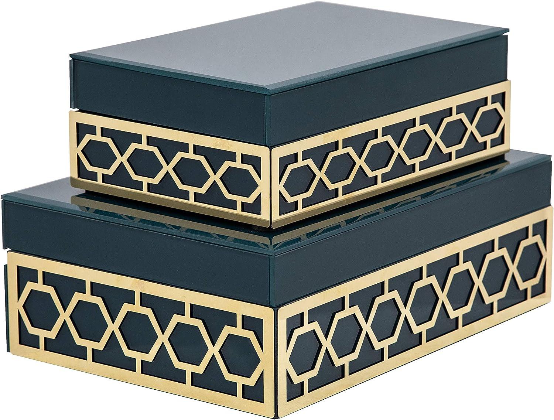 Sagebrook Home 14831-01 Set of 2 Wood/Glass Jewelry Box,Teal, 10