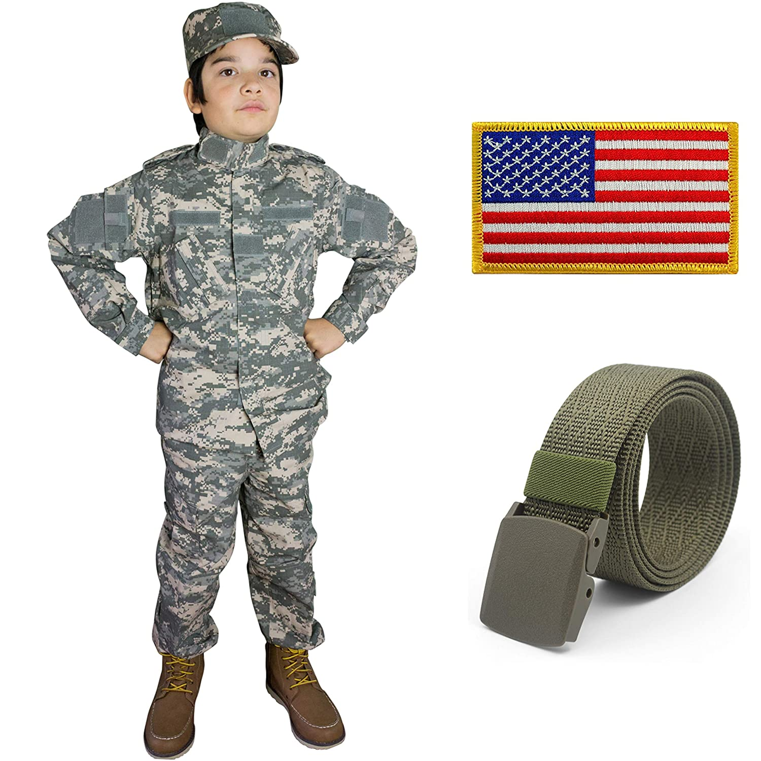 Kids Military Costume Army Uniform Camo Tactical Suit - Cap, Shirt, Pants, Belt, Patch Set - Boys