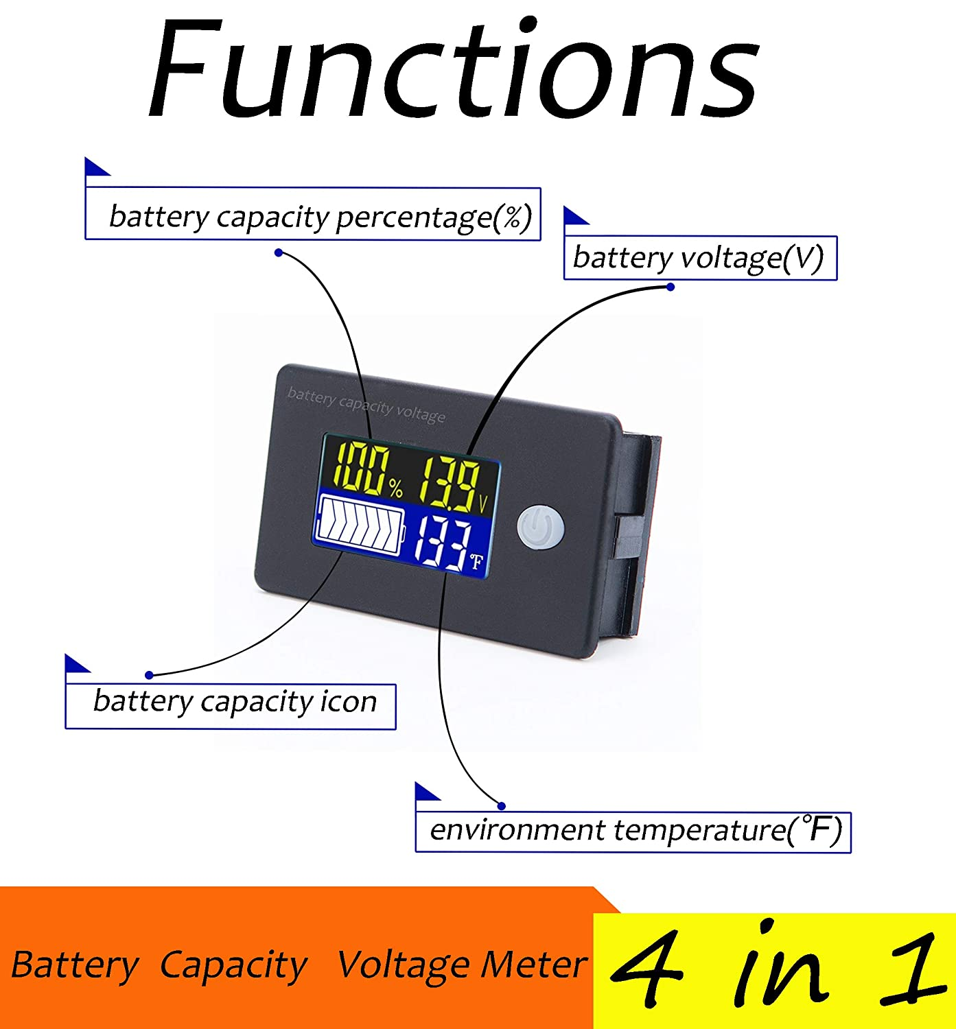 12V Battery Capacity Voltage Meter 0-179℉ Temperature Monitor 12V 24V 36V 48V Lead Acid Battery Lithium Battery Gauge Meter