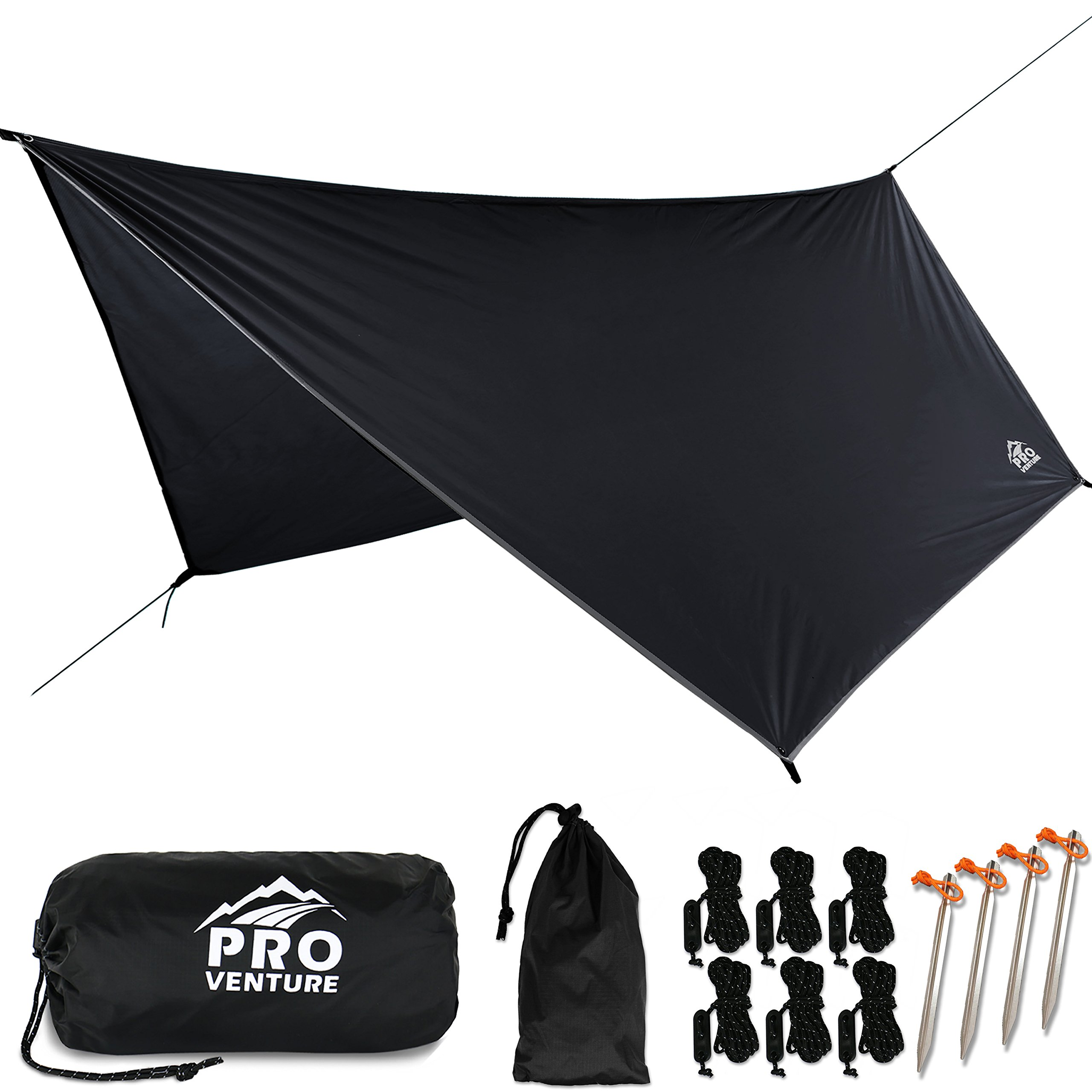 Pro Venture [12 FT Hex] Waterproof Hammock RAIN Fly - Portable Large Rain Tarp - Premium Lightweight Ripstop Nylon - Fast Set Up - Hammock Camping Essential! 12FT x 9FT HEX Shape by Pro Venture