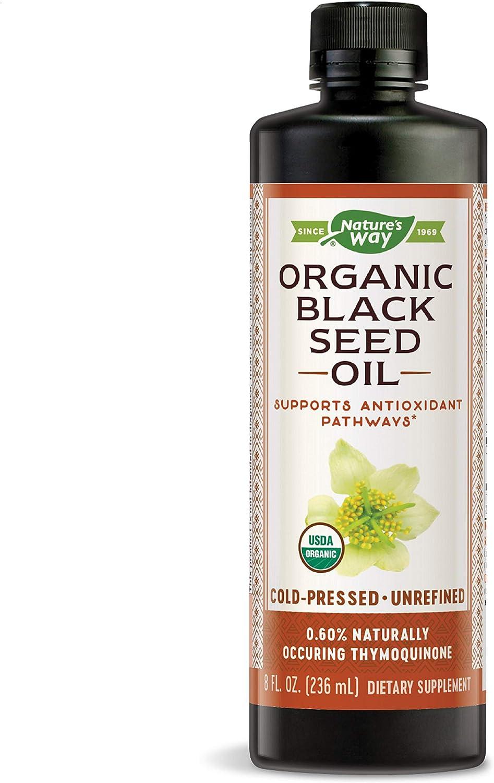 Nature's Way Organic Black Seed Oil - 100% Cold-Pressed, 0.60% Thymoquinone, Vegan, Gluten-Free- 8oz