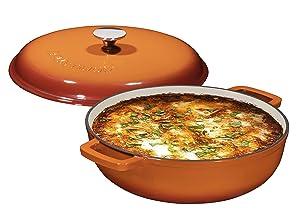 Enameled 4.5 Quart Cast Iron Casserole Dish Dutch Oven Super Heat Retention Gradient Pumpkin Spice (144oz.)