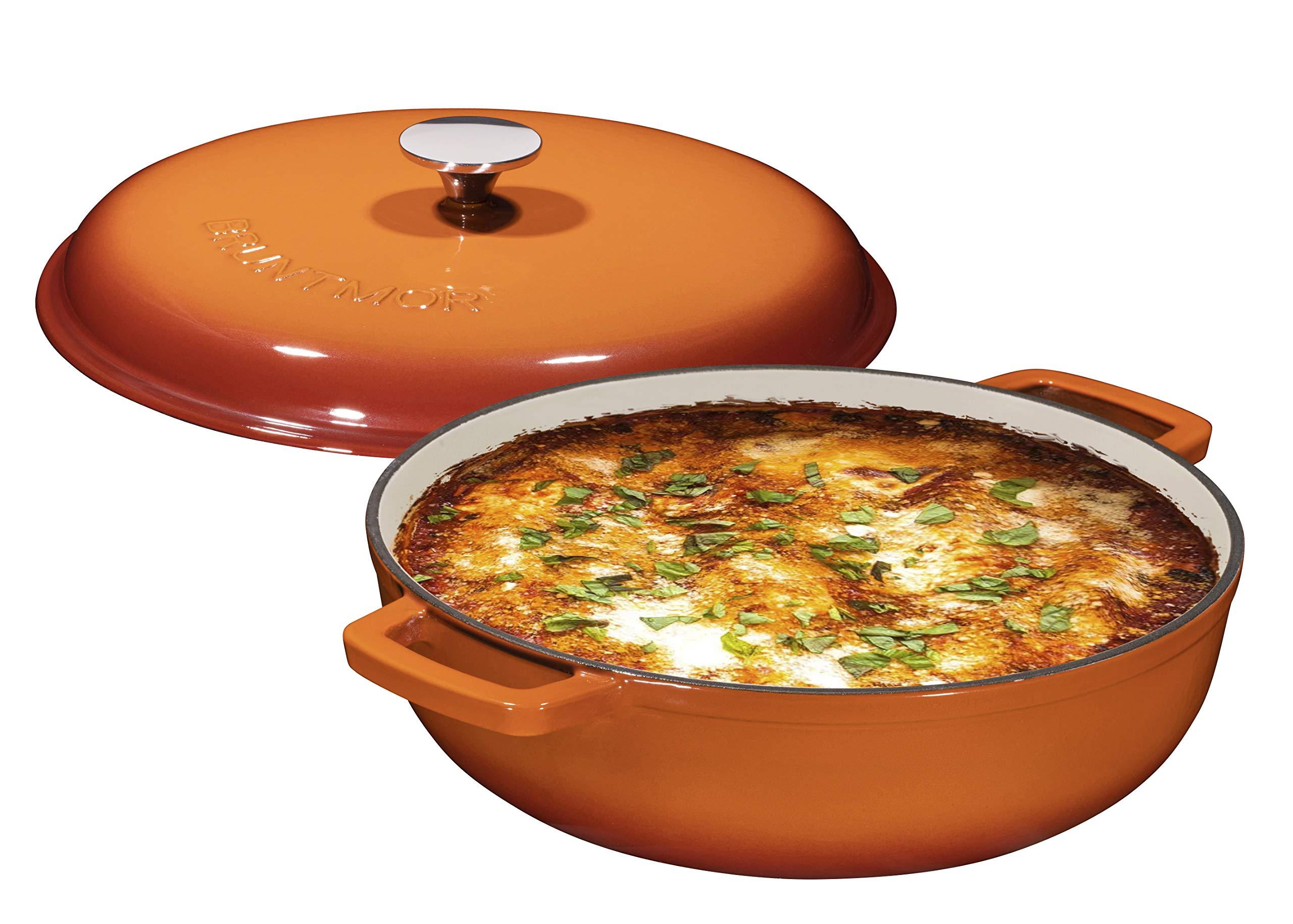 Enameled 4.5 Quart Cast Iron Casserole Dish Dutch Oven Marmite Pot Super Heat Retention Gradient Pumpkin Spice (144oz.) by Bruntmor (Image #1)