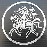 Silver Odin on Sleipnir Vinyl Decal